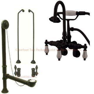 Oil Rubbed Bronze Wall Mount Clawfoot Tub Faucet w hand shower System Package CC303T5system   Wall Decor Stickers