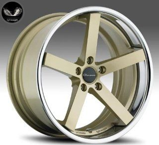 Giovanna Mecca 20x8.5 20x10 Wheels BMW 3 5 Series Staggered Gold Face Chrome Lip 4pc 1 set Automotive