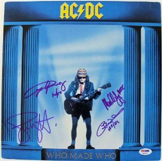 AC/DC (4) ANGUS YOUNG MALCOLM WILLIAMS & WRIGHT SIGNED ALBUM COVER PSA #Q02571 Entertainment Collectibles