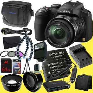 Panasonic Lumix FZ200 Digital Camera + Two BLC12 Replacement Lithium Ion Battery + External Rapid Charger + 64GB SDHC Class 10 Memory Card + 52mm 3 Piece Filter Kit + 52mm Wide Angle Lens + 2x Telephoto Lens + External Flash + Mini HDMI Cable + Original Pa