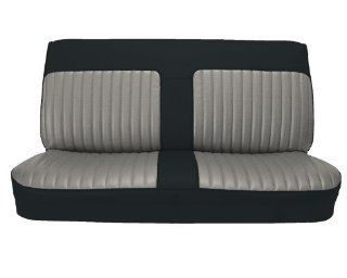 Acme U101B 898L Front Black Vinyl Bench Seat Upholstery with Silver Velour Inserts Automotive