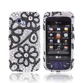 Black Flower Lace on Silver Bling LG Neon 2 GW370 Hard Case Cover; Fashion Jeweled Snap On Plastic Case; Perfect Fit as Best Coolest Design Cases for Neon 2 GW370/LG GW370 Compatible with Verizon, AT&T, Sprint,T Mobile and Unlocked Phones Cell Phones