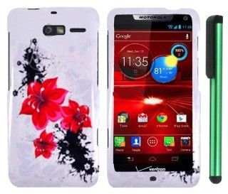 "Splash ink Painting Red Black Flower Middle On White Premium Design Protector Hard Cover Case for Motorola DROID RAZR M XT907 (Verizon) + Combination 1 of New Metal Stylus Touch Screen Pen (4"" Height, Random Color  Black, Silver, Hot Pink, Green, Ligh"