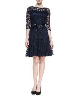 Womens 3/4 Sleeve Lace Overlay Cocktail Dress, Navy   Rickie Freeman for Teri