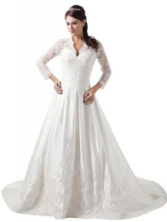 GEORGE BRIDE Women's A Line Long Sleeves Lace over Satin Wedding Dress