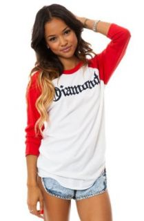 Diamond Supply Co. Women's Diamond4Life 3/4 Sleeve Raglan Large Red Fashion T Shirts