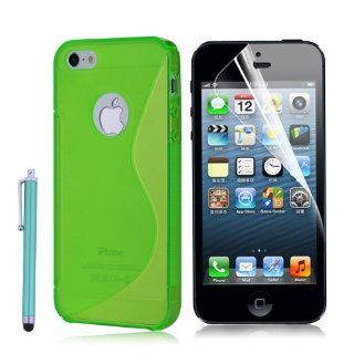 Silicone Rubber Gel Soft Skin Case Cover for Apple Iphone 5.Green. Cell Phones & Accessories