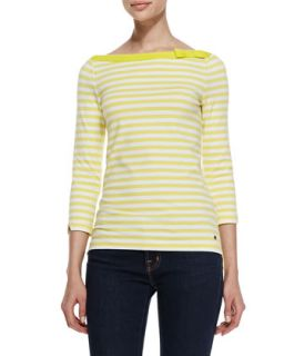 Womens devon 3/4 sleeve striped top, lemon yellow/fresh white   kate spade new