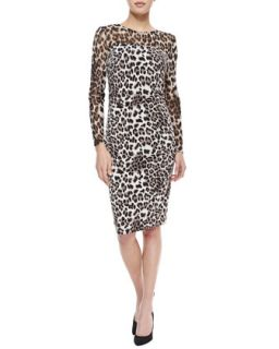 Womens Long Sleeve Mesh Top Leopard Print Dress, Brown/Snow   Kay Unger New