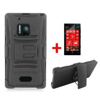 NOKIA LUMIA 928 BLACK HYBRID KICKSTAND COVER HARD BELT CLIP HOLSTER CASE + SCREEN PROTECTOR from [ACCESSORY ARENA] Cell Phones & Accessories