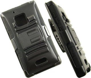 Heavy Duty Black Armor Skin Case + Belt Clip Holster Stand For Nokia Lumia 928 Cell Phones & Accessories
