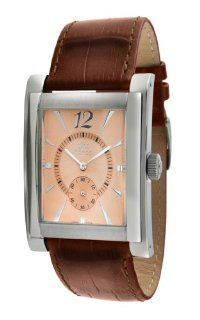 gino franco Men's 902RG Stainless Steel Case and Genuine Leather Strap Watch Watches