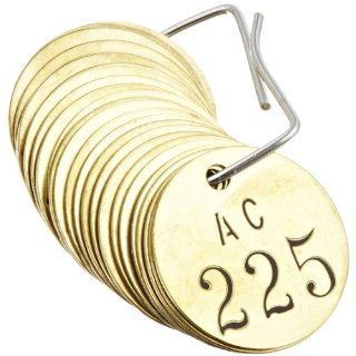 "Brady 23484 1 1/2"" Diameter, Stamped Brass Valve Tags, Numbers 201 225, Legend ""AC"" (Pack of 25 Tags) Industrial Lockout Tagout Tags"