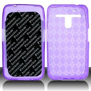 For Metro PCS LG Esteem 4G MS910 Phone Accessory   Purple Plaid Designer Protective TPU Soft Gel Skin Case Cover+ LF Stylus Pen Cell Phones & Accessories