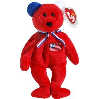 America 911 Memorial Red Teddy Bear   Ty Beanie Babies Toys & Games