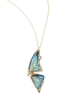 Pave Crystal Butterfly Wing Pendant Necklace, Azure   Alexis Bittar