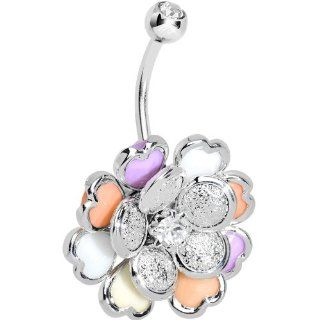 Clear Gem Multi Petal Flowering Hearts Belly Ring Body Candy Jewelry