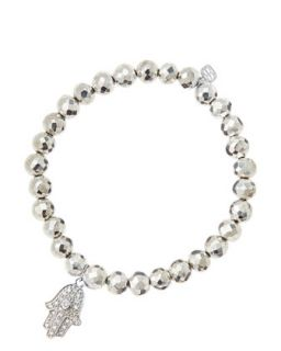 6mm Faceted Silver Pyrite Beaded Bracelet with 14k White Gold/Diamond Medium