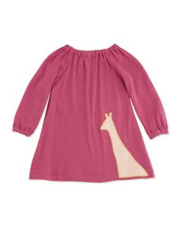 Long Sleeve Giraffe Dress, Rose, 3 12 Months