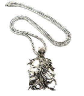 "New Man & Lion Face Pendant 4mm/36"" Franco Chain Hip Hop Necklace XP918R Lion Necklace For Men Jewelry"