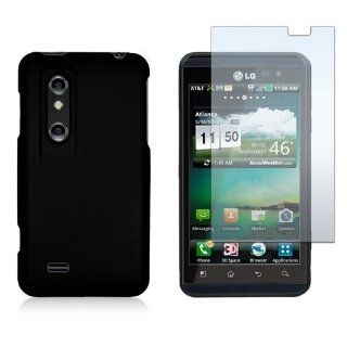 LG Optimus 3D P920/Thrill P925   Black Silicone Rubber Gel Soft Skin Case Cover + Clear LCD Screen Protector Cell Phones & Accessories