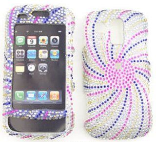 Samsung Rogue u960 Full Diamond Crystal, Pink/Blue Swirl Full Rhinestones/Diamond/Bling/Divas   Hard Case/Cover/Faceplate/Snap On/Housing/Protector Cell Phones & Accessories