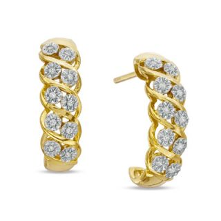 10 CT. T.W. Diamond J Hoop Earrings in Sterling Silver with 14K Gold