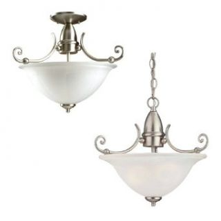 Sea Gull Lighting 51050 962 Canterbury Collection Two Light Pendant, Brushed Nickel Finish with Satin Etched Glass   Close To Ceiling Light Fixtures