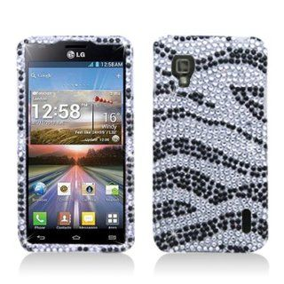 Aimo Wireless LGLS970PCDI152 Bling Brilliance Premium Grade Diamond Case for LG Optimus G LS970   Retail Packaging   Black/White Zebra Cell Phones & Accessories