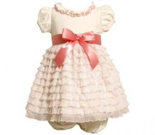 Bonnie Jean Baby Girls Easter Satin Bow Mesh Dress , Ivory , 12 Months Clothing