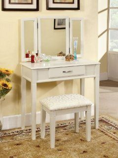 Shop Reflection White Modern Single Drawer Vanity with Padded Stool at the  Furniture Store
