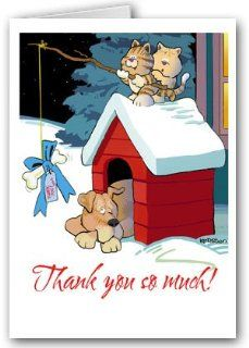 Cute Cat & Dog Thank You Boxed Note Card   10 cards/10 envelopes Health & Personal Care