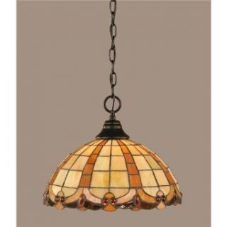 Toltec Lighting 10 MB 989 One Light Chain Hung Pendant, Matte Black Finish with Butterscotch Tiffany Glass   Ceiling Pendant Fixtures