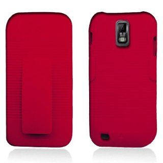 Aimo Wireless SAMT989PCBEC003 Shell Holster Combo Protective Case for Samsung Galaxy S2 T989 with Kickstand Belt Clip and Holster   Retail Packaging   Red Cell Phones & Accessories