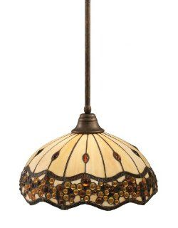 Toltec Lighting 26 BRZ 997 Stem Pendant Light Bronze Finish with Roman Jewel Tiffany Glass, 16 Inch   Ceiling Pendant Fixtures