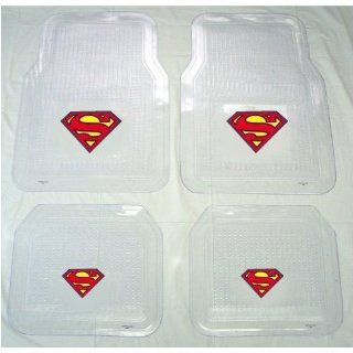 A Set of 4 Universal Fit Clear Vinyl Floor Mats for Car / Truck   Superman Classic Red and Yellow Shield Automotive