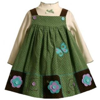 Bonnie Jean Baby/Infant Girls 12M 24M 2 Piece SAGE GREEN BROWN IVORY PIN DOT BUTTERFLY FLOWER PATCHWORK Party Jumper Dress Set 24M BNJ 0818B B10818 Clothing