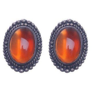 Sterling Silver Oval Red Agate with Beaded Edge Clip On Earrings SkyeSterling Jewelry