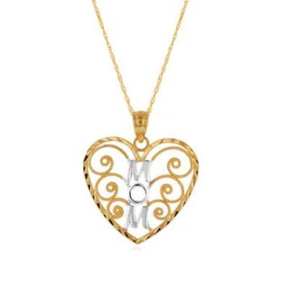 heart with mom pendant in 10k two tone gold orig $ 129 00 109 65