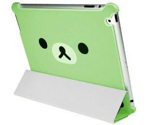 Supermary Lovely Relax Rilakkuma Bear Smart Cover with Hard Back Case for ipad2 and new ipad 3   green Computers & Accessories