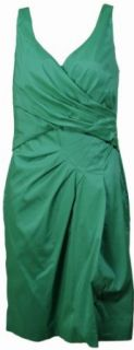 Lauren Ralph Lauren Women's Dupioni Faux Wrap Dress 10P Green [Apparel]