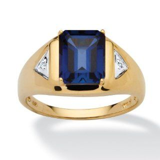 Men's 4 Carat Emerald Cut Lab Created Blue Sapphire 18k Yellow Gold over Sterling Silver Ring Jewelry