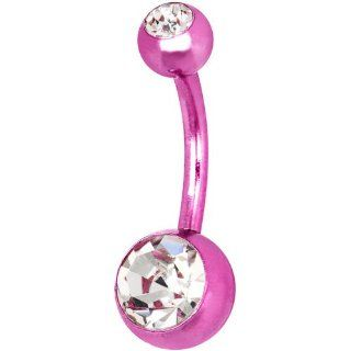 Pink Anodized Titanium Double Gem Belly Ring Body Piercing Barbells Jewelry