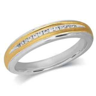 Ladies Diamond Accent Wedding Band in Sterling Silver and 10K Gold