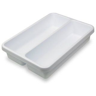 "TrippNT 50159 White Polystyrene Plastic Drawer Organizer, 2 Pocket, 14"" Width x 3"" H x 10"" Depth, For Light Duty Cart Science Lab Carts"
