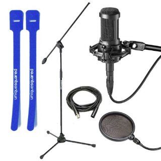 Audio Technica AT2050 Microphone w/ Mic Stand, XLR Cable, Pop Filter, Cable Ties Musical Instruments