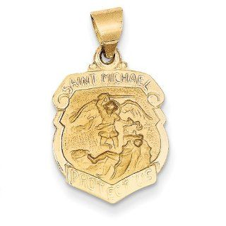 14k Polished And Satin St. Michael Badge Medal Pendant, Best Quality Free Gift Box Satisfaction Guaranteed Jewelry