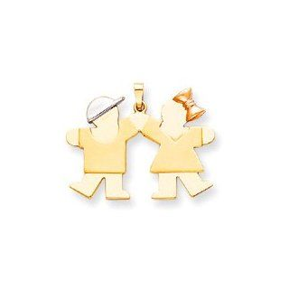Boy Girl Silhouette Charm, Yellow/White/Pink Gold Jewelry