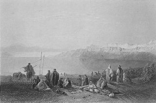 ISRAEL Halt above north end of Dead Sea Bartlett, antique print, 1847