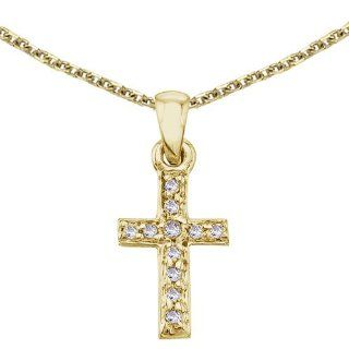 "14K Yellow Gold Small Diamond Cross Pendant with 18"" Chain Jewelry"